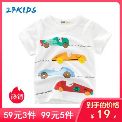 27Kids 兒童短袖T恤童裝春夏款時尚卡通休閑男女童T恤中小童上衣