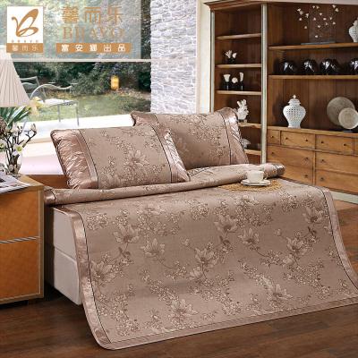 富安娜(FUANNA)家紡夏季涼席空調席子單人雙人折疊席子1.5m床涼席三件套1.8m清涼席冰絲提花席