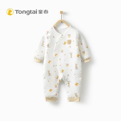 童泰TONGTAI秋冬加厚偏開閉襠連體衣1-12個月寶寶保暖內衣哈衣爬爬服
