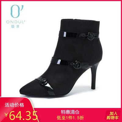 達芙妮冬季新款時尚條帶扣飾尖頭高跟踝靴女靴子1017605845