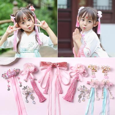兒童超仙頭飾中國女童發飾古代流蘇步搖發夾寶寶古裝漢服古風發卡