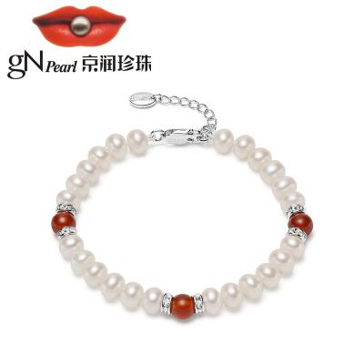 京潤珍珠 傾麗淡水珍珠/瑪瑙手鏈 6-7mm 白色 圓形時尚簡約送禮珠寶