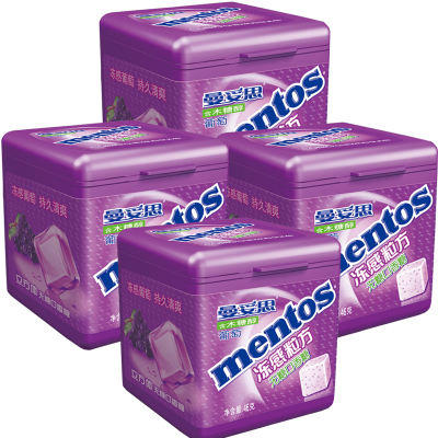 曼妥思 凍感粒方口香糖葡萄味46克*4罐 葡萄味組合裝 木糖醇口香糖辦公室零食糖果