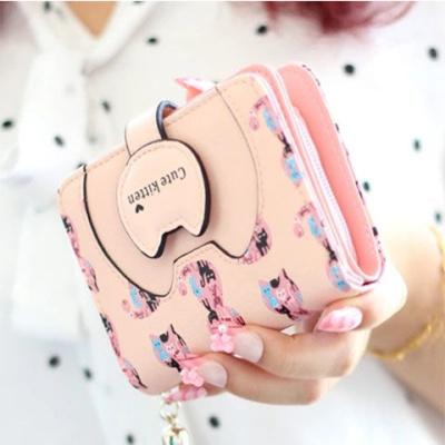 尚谷伊美2019新款錢包女學生韓版短款可愛貓咪迷你零錢包女生卡包女士錢夾