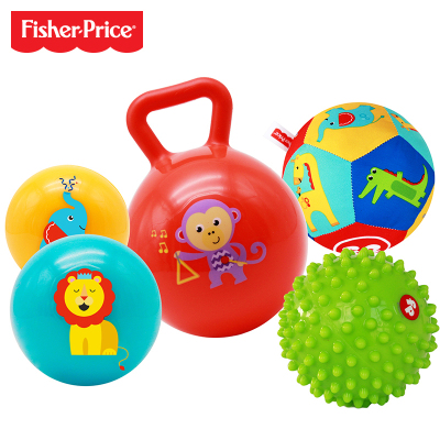 费雪Fisher Price 儿童玩具球宝宝初级训练球五合一套装 宝宝婴幼儿按摩球布球摇玲球F0906