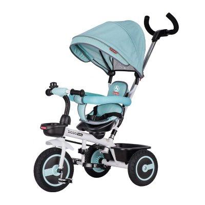 儿童手推三轮车脚踏车婴儿手推车带蓬双向推行童车小孩自行车钛空轮免充气防爆轮