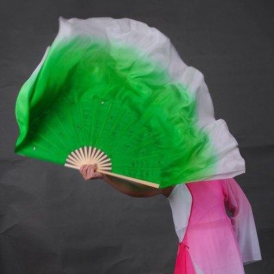 舞蹈扇子 跳舞扇双面扇渐变色加长扇 绿色渐变 扇定做