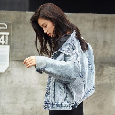 [2件2.5折]唐獅秋裝新款牛仔外套女學生韓版顯瘦短外套休閑復古原宿風夾克潮