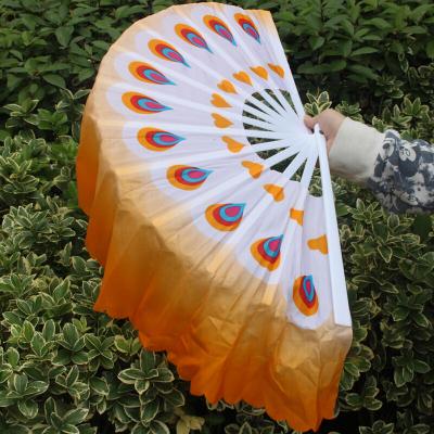 因樂思(YINLESI)雙面加長扭秧歌扇廣場舞跳舞扇扇子舞膠州真絲成人兒童扇子