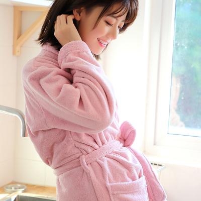 斜月三星 秋冬季珊瑚绒情侣睡袍男女浴袍珊瑚绒加厚长袖睡衣家居服浴衣