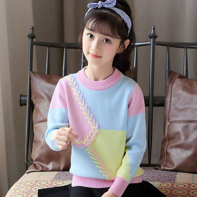 女童毛衣套头儿童秋冬加绒针织打底衫宝宝中大童韩版女孩外套