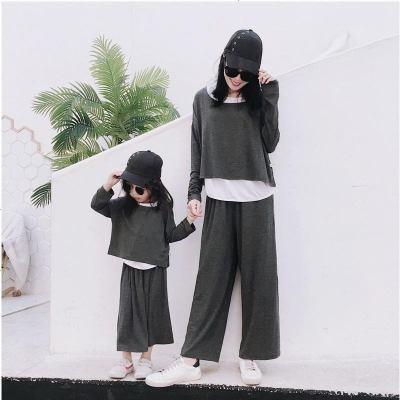 亲子装套装秋装2019新款潮母子母女装洋气网红抖音时尚两件套