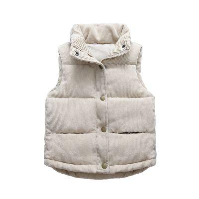 La MaxZa新款儿童羽绒棉马甲男女童灯芯绒棉服中小童背心宝宝加厚棉衣反季