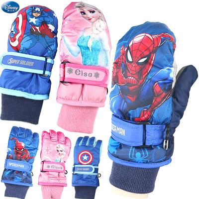 迪士尼儿童连指滑雪手套包指宝宝漫威男童蜘蛛侠玩雪冬季加厚保暖
