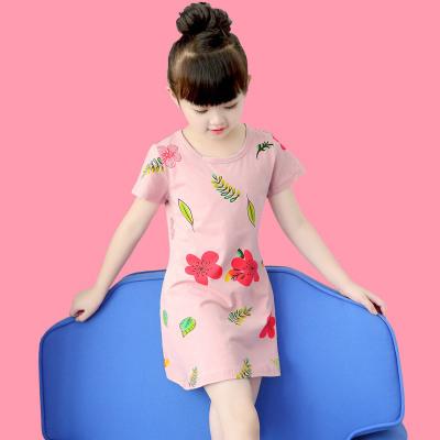 女童純棉睡裙夏季寶寶睡衣套裝薄款兒童公主小女孩短袖母女親子裝臻澀