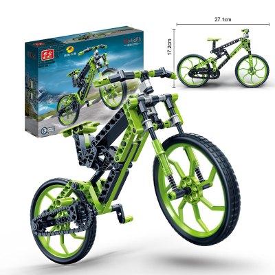 邦宝积木山地车自行车塑料拼装拼插儿童益智玩具6-7-10岁礼物6959