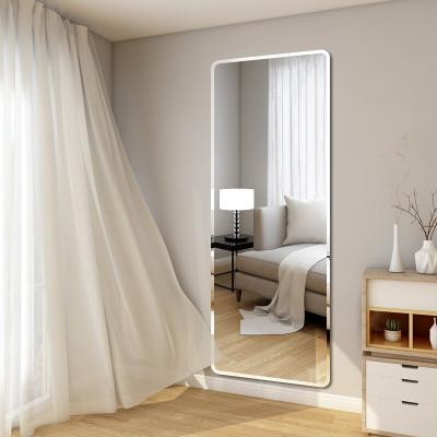 镜子全身穿衣镜 其他贴墙家用卧室试衣镜无框学生宿舍女客厅壁挂粘贴镜圆形宜家风格暖兔