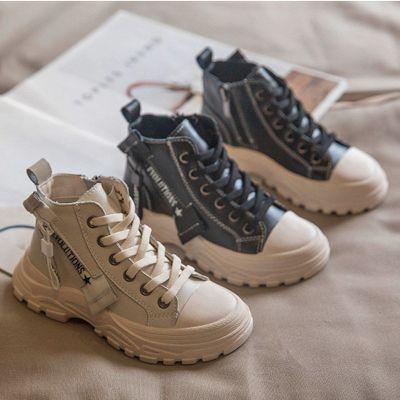 【品牌特卖】女童皮靴2019秋新款时尚英伦风男童马丁靴潮流中大童短靴儿童鞋子