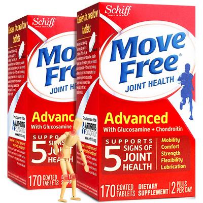 【兩瓶裝】旭福Schiff Move Free維骨力氨糖軟骨素氨基葡萄骨膠原蛋白中老年成人補鈣寶紅瓶170粒/瓶