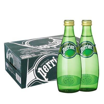 【经典原味玻璃瓶】巴黎水(Perrier)天然气泡矿泉水(原味)玻璃瓶装 330ml*24瓶/箱 进口饮用水 法国进口