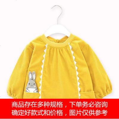 秋冬新款大版儿童灯芯绒防水罩衣女宝宝大版吃饭围兜反穿护衣倒褂