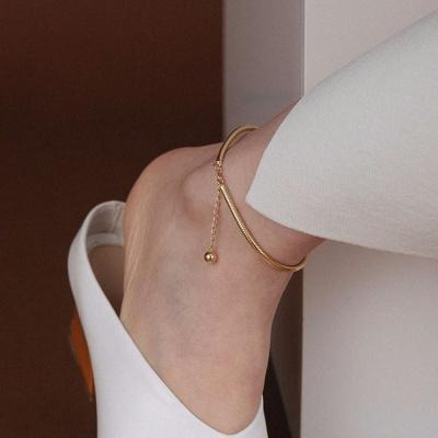 韓版ins簡約蛇骨鏈大腳鏈女款復古氣質性感腳踝鏈學生小眾腳環潮