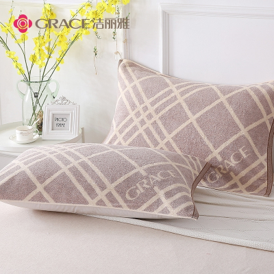 潔麗雅(Grace)枕巾純棉成人一對加大加厚柔軟透氣單雙人學生情侶四季通用