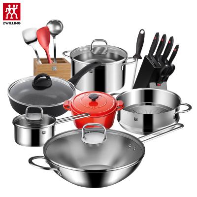 雙立人(ZWILLING)NovaIII30cm全套廚房鍋具套裝煎鍋奶鍋鑄鐵鍋湯鍋刀具炊具不銹鋼組合