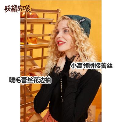 妖精的口袋黑色针织长袖T恤2019秋季新款内搭修身显瘦半高领上衣