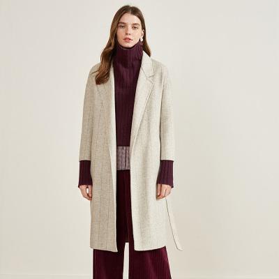 伊芙麗冬裝新款寬松翻領長款羊毛雙面呢大衣女毛呢外套