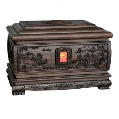 HOTBEE黑檀骨灰盒男女榫卯結構實木骨灰盒壽盒紅木棺材防潮殯葬用品