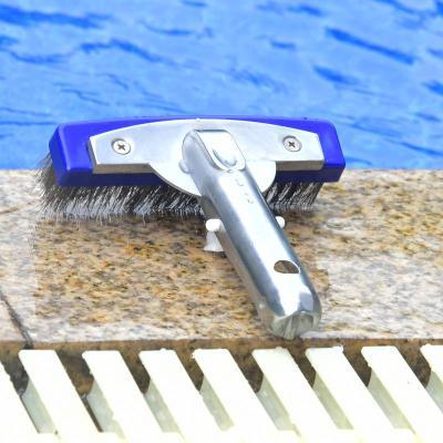泳池池底刷子閃電客池壁鋼絲刷頭清洗清潔刷10寸游泳池魚池鋁背池刷工具