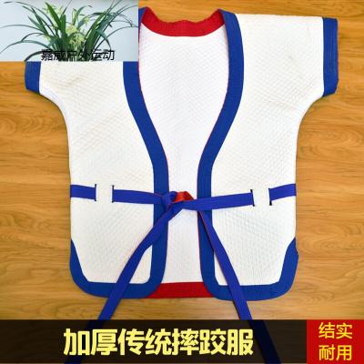 运动户外自由传统式摔跤服中式摔跤衣中国式褡裢跤衣红蓝白双面穿跤服 白跤衣14号(身高140-150cm) 均码601