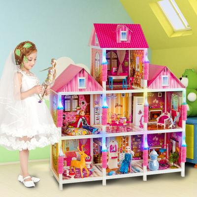 聪乐美芭比娃娃套装大礼盒女孩公主别墅玩具屋冰雪奇缘洋娃娃超大城堡梦想豪宅儿童生日礼物三层豪华居家款66893