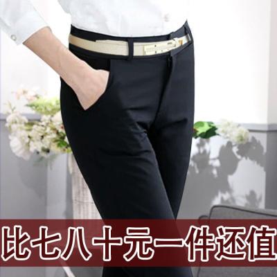 夏薄款職業西褲女直筒小腳西裝褲正裝工裝大碼黑色女士工作長褲子 臻依緣
