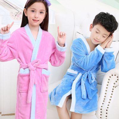 儿童睡袍法兰绒2-12岁浴袍男女童秋冬加厚宝宝珊瑚绒睡衣 臻涩