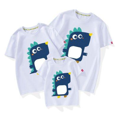 2019薄款趣味純棉短袖T恤藍恐龍2019年新款潮春夏裝親子裝家庭裝 威珺