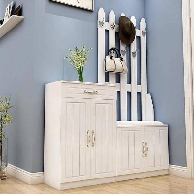 汐巖歐式掛衣架鞋柜烤漆口玄關柜簡約現代鞋柜儲物柜廳柜衣帽柜
