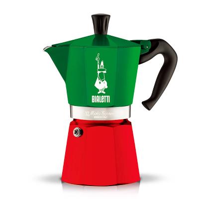 【意大利進口】BIALETTI比樂蒂摩卡壺 八角三色旗 意式咖啡特濃家用咖啡壺 半自動滲濾式 3杯份 咖啡粉適用