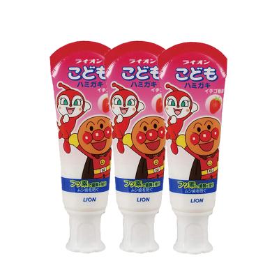 3支裝 | 獅王(LION)面包超人酵素兒童護理牙膏草莓味 40g 殺菌防蛀美白