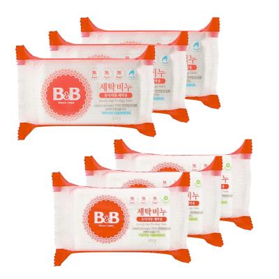 6件裝 | B&B 保寧 嬰幼兒天然除菌洗衣皂 200克/塊 洋槐香3塊+甘菊香3塊