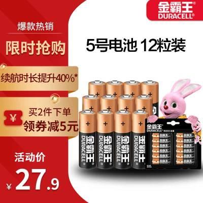 金霸王(Duracell)5号电池 碱性电池 12粒装1.5v干 数码电池 适用玩具空调电视遥控器无线鼠标挂钟指纹锁