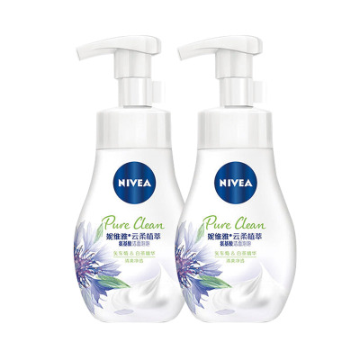 妮维雅(NIVEA)云柔植萃氨基酸洁面泡泡洗面奶180ml(清爽净透)双支装