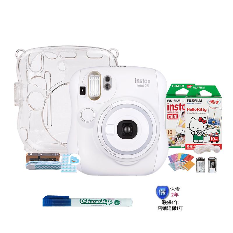 富士(FUJIFILM)INSTAX 一次成像相机立拍立得 mini25相机 白色 奢华套餐(含20张胶片)