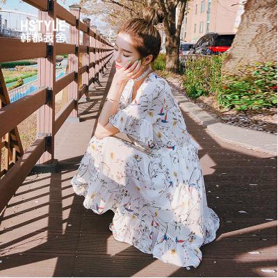 韩都衣舍2019夏装新款韩版女装荷叶边短裙腰带雪纺连衣裙MR9066汩
