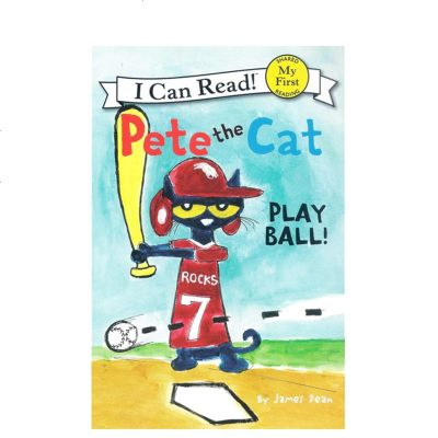 英文原版 Pete the Cat Play Ball! 皮特猫 I can read 1分级读物 儿童绘本图画
