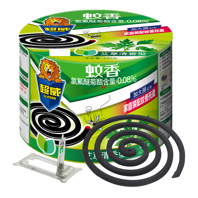 (立白旗下)超威植物艾草清香特大盘蚊香40单盘(塑桶)