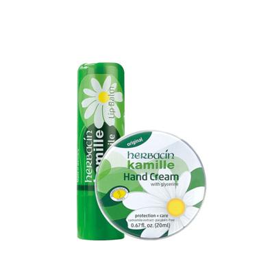 Herbacin进口德国小甘菊修护唇膏4.8g+ 经典护手霜20ml组合装 滋润保湿 补水防龟裂