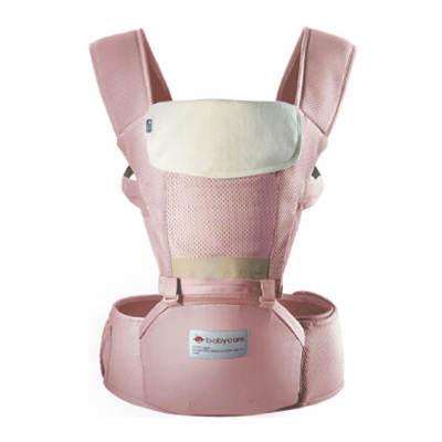 babycare 透气多功能婴儿背带前抱式宝宝腰凳 巴基斯坦棉纱材质 粉色 9821超透款