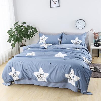 迎馨家纺 磨毛四件套床上用品印花套件学生被套床单枕套